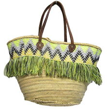 French Market Basket Fringe Side Straw Bag Handmade