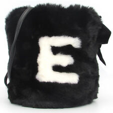 ERMANNO Ermanno Scervino designer fashion black fur Bucket bag Purse