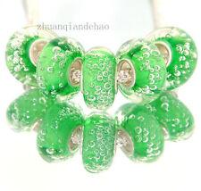 1 green bubbled glass European charm bracelet bead murano lampwork bubbles water