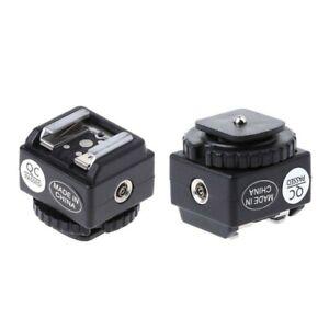 Hot Shoe Converter Adapter PC Sync Port Kit For Nikon Flash To Canon Camera