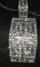 Gorgeous Quality Vintage Silver Overlay Cubic Zirconia Pendant Necklace & Chain