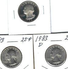 1983-S 25C Proof with nice P & D  Washington Quarters, (3 Coins)!