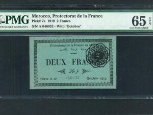 Morocco:P-7a,2 Francs,1919 * EMERGENCY * PMG Gem UNC 65 EPQ *