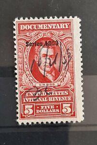1953 $5 U.S Documentary Revenue Stamp  #R642 Fair Used Condition RARE