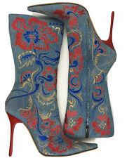 GIANMARCO LORENZI Floral Denim Knee High Zipper boots pumps pointed toe Sz 40