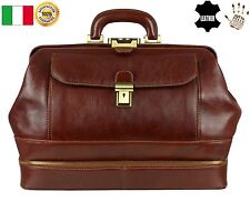 Vintage New Brown Italian Genuine Leather Doctor Bag Medical Briefcase Handbag