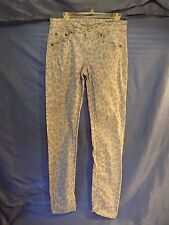 GIRLS JUSTICE JEANS - SIZE 14  - BLUE/GRAY LEOPARD PRINT PANTS - USED - SKINNY