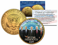 LIVING PRESIDENTS 24K Gold Plated JFK Half Dollar Coin BUSH CLINTON Jimmy CARTER