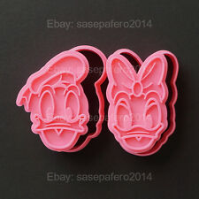 Donald & Daisy Duck cookie cutters with stamp 4 pieces set.