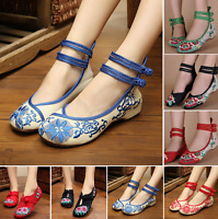 Chinese Embroidered Floral Shoes Women Ballerina Flat Ballet Cotton Loafer Retro