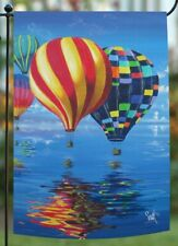 Toland Home Garden Sleeved Flag 12.5x18 Flight Of The Balloons Hot Air Lake