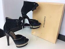 CARVELA BY KURT GEIGER KG black Suede Shoes 5 38 Rrp £130 Gower Peep Ankle Box