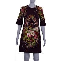 DOLCE & GABBANA Keys Flowers Roses Printed Viscose Dress Bordeaux 07135