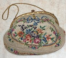 Antique Victorian French Tapestry Ormolu Handmade Pink Silk Evening Bag Mirror
