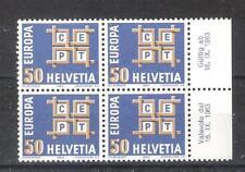 SUIZA nº 716** en Bloque de Cuatro. Europa 1963.Serie completa