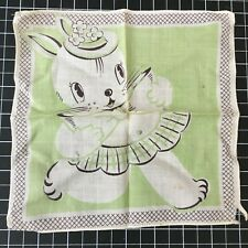 Vintage Child'S Children'S Green Bunny Rabbit Handkerchief Hankie