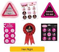 HEN NIGHT / HEN PARTY (Badges,Girl,Woman,Pink,Bride)