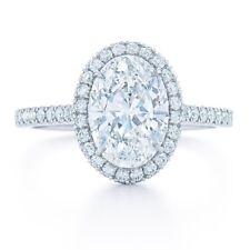Diamond Engagement Ring Set In Plat 950 1.58 Carat H Vs2 Gia Certified Oval Cut