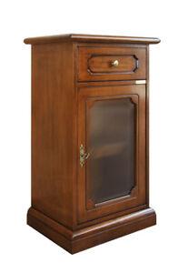Mobiletto in legno per ingresso, mobile porta telefono con vetrinetta e cassetto