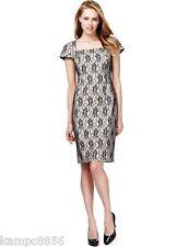 New M&S Drop A Size Cream & Black Floral Lace Dress Sz UK 22