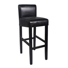 "NEW!  WOOD/LEATHER BARSTOOL - 32"" BAR/COUNTER STOOL -BROOKLYN-SET OF 2 - BLACK"