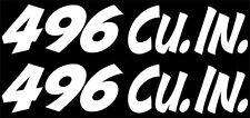 """x2 """"496 Cu. In."""" Set of VINTAGE Hand Lettered look decals."""