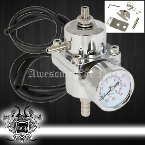 Universal Silver Adjustable Fuel Pressure Regulator Gauge 1:1 0-140 Psi Ratio