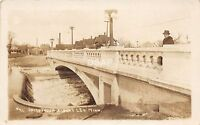 C81/ Albert Lea Minnesota Mn Real Photo RPPC Postcard c1917 Bridge Dam Man