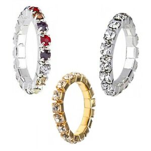 Silver Gold Multi Coloured Crystal Stretch Elastic Toe Thumb Finger Ring 1 Row