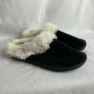 Isotoner Black w/Silver Threads Knit Slip On Mule Ladies House Shoes Sz 9.5-10