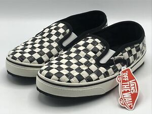 Vans Slip-Er 2 Ultracush Slippers Men's Size 9 Black White Checkerboard New