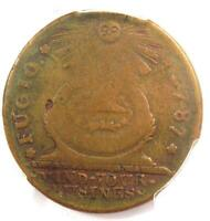 "1787 Fugio Cent 1C (""1 over 1"" Variety, 1/1) - PCGS F12 (Fine) - $1,250 Value"