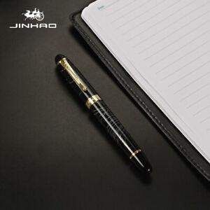 Jinhao X450 Fountain Pen in Black with White Strokes Design MEDIUM Nib Gold Trim