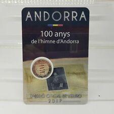 ANDORRA 2 EURO  2017 COMMEMORATIVO 100° INNO DI ANDORRA  COIN CARD B.U FDC