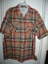 Ablanche New York Orange Brown Blue Plaid S/S Button Front Chest Pockets Top 4X