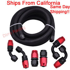8AN 1/2in Black Braided Fuel Line Oil Line + 6 Pc RdBlk Swivel Fitting Hose End