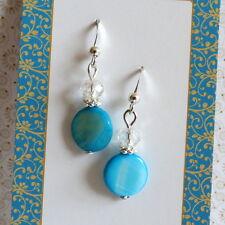 Clear Crystal Silver Drop Dangle Earrings Aqua Blue Mother of Pearl Mop