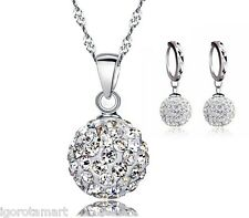 Gemed CZ Crystal 925 Silver Necklace Stud Hoop Earring Pendant Sets UK Post