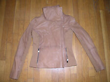 Bod & Christensen Women's Rebecca Lamb Leather/Fabric Tan Jacket, Size L