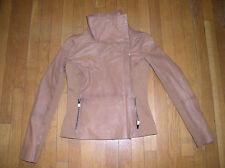 Bod & Christensen Women's Rebecca Lamb Leather/Fabric Tan Jacket, Size L