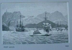 1863 Port Louis Painting Photo - Voyages et Decouvertes outre Mer - Vintage RARE