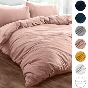 Brentfords Washed Linen Look Duvet Cover with Pillowcase Bedding Set Grey Blush