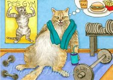 ACEO art print Cat 363 gym from funny original painting L.Dumas