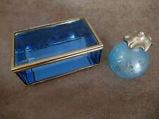 Boîte à Bijoux ( 13X8X5 )  et Fiole/flacon pour parfum Bleue( H 8,5 cm  )