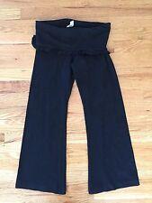 SO LOW Roll Down Fold Over Black Capris Yoga Pants Ruffles sz XS