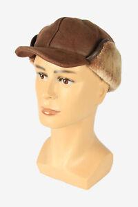 Suede Fur Winter Hat Ushanka Vintage Earflaps 80s Brown Size 58 cm - HAT2147