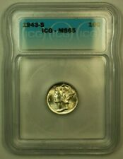1943-S Silver Mercury Dime 10c Coin ICG MS-65 (2B) Lightly Toned FB IOO