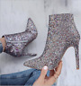 Womens Stiletto Sequins Abkle Boots High Heel Pointed Toe Fashion Party Zip Shoe