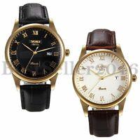 Business Calendar Roman Numerals Dial Quartz Analog Wrist Watches Leather Band