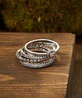 Sevil .925 Sterling Silver Gorgeous 4 Piece Ring Set W Swarovski Elements